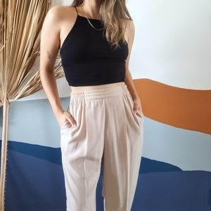 Vintage High Waist Oatmeal Silky Pleated Trousers